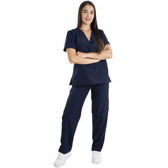 Uniforme pijama medica línea a mujer antifluido azul oscuro