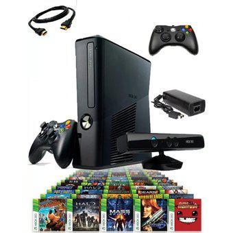 Xbox 360 slim r 5.0 hdmi 2 controles kinect mas sorpresa