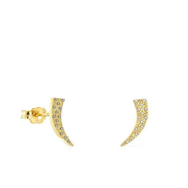 Aretes Tous Good Vibes Cuerno De Oro Y Diamantes 018113010