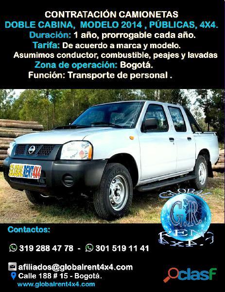 Contrato camionetas con platón diesel sin conductor colombia
