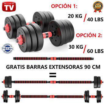 Kit pesas mancuernas 20 o 30 kilos + barras extensoras 90 cm