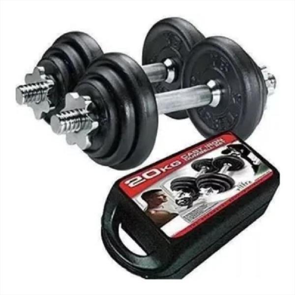 Kit pesas mancuernas 20 kg 40 lb gimnasio portatil +