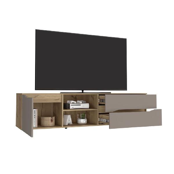 Mesa para TV Vico, Café claro y Cocoa, con puertas