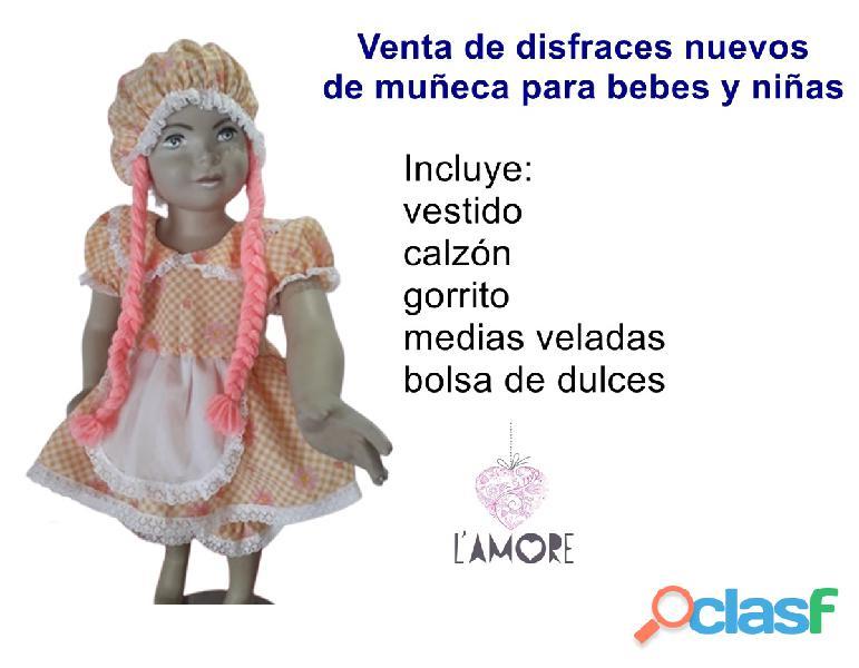 Venta de disfraz de muñeca NUEVO para bebe niña 1 y 2 años única talla