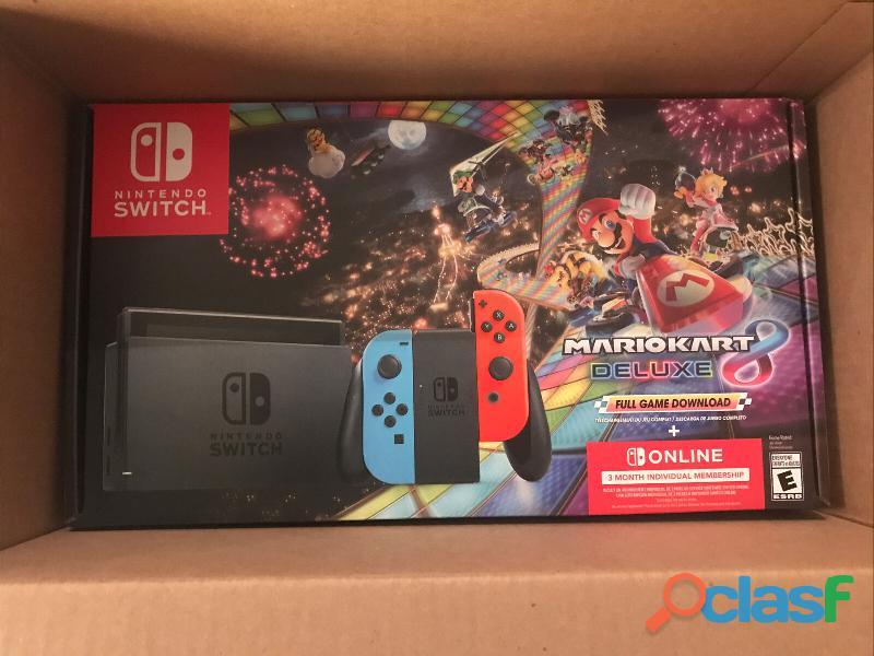 Nintendo switch mario kart 8 deluxe bundle with neon bluered joy
