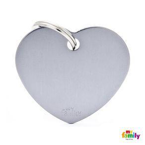 Placa identificación corazón aluminio basic pequeño gris
