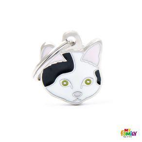 Placa identificación gato europeo blanco y negro