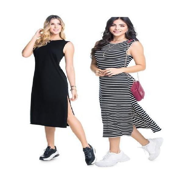 Vestido paq x2 para mujer rayas bicolor y negro, mp