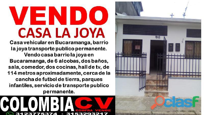 Casa barrio la joya, de oportunidad vehicular en bucaramanga,