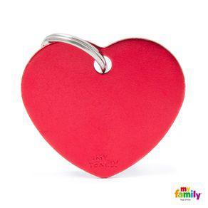 Placa Identificación Corazón Aluminio Basic Pequeño Rojo