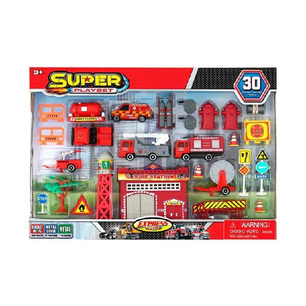 Set estación de bomberos de juguete emergencia 30 piezas e
