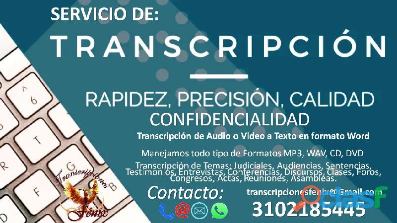 SERVICIO DE TRANSCRIPCION