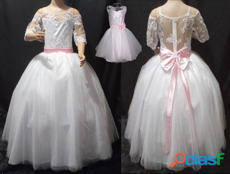 Alquiler de vestidos convertibles blanco con fajón rosado para niña en Itagüí