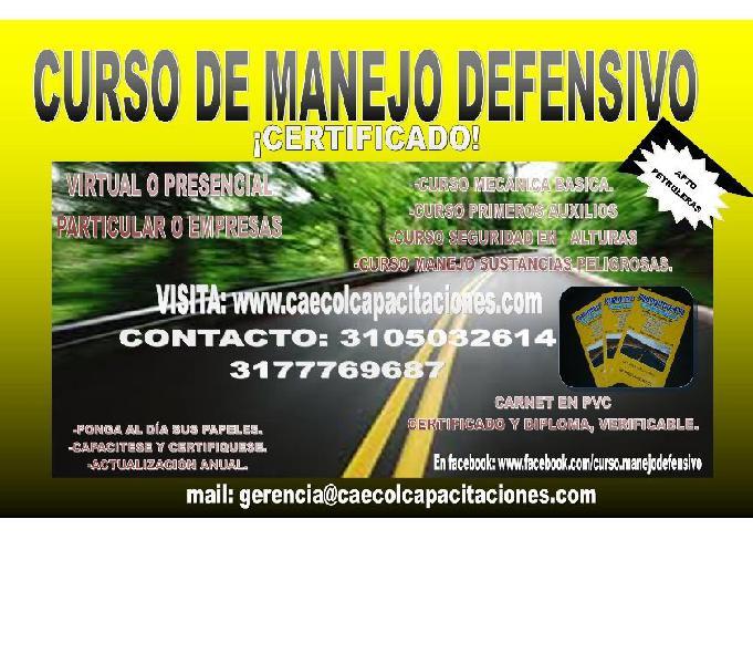 Cursos y certificados de manejo defensivo